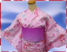 夏粋浴衣・グラデ半巾帯・下駄or髪飾3点セットピンク地小桜桜
