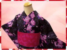夏粋浴衣&柄半巾帯2点セット黒地可憐小花ピンク