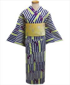夏粋浴衣&ラメ入グラデーション半巾帯2点セットオフホワイト地青黄ライン猫(ねこ)花