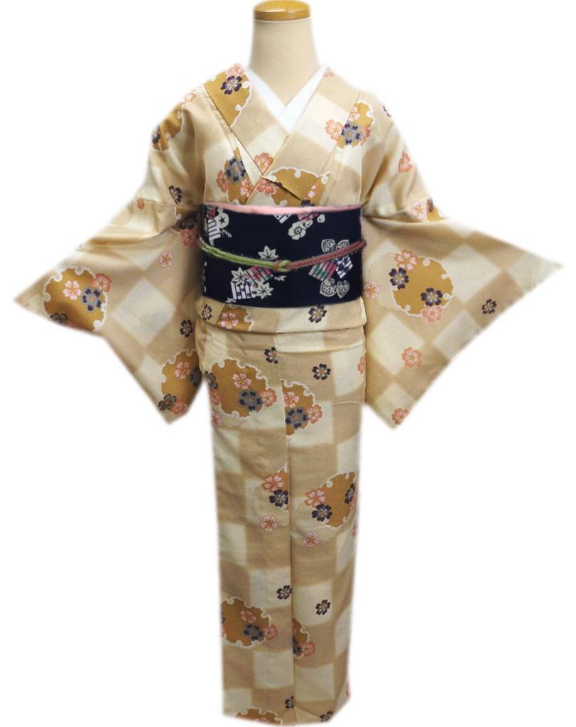 洗える袷着物(小紋)と軽装帯(付け帯)セット薄茶きなり市松地雪輪桜LL(トールサイズ)