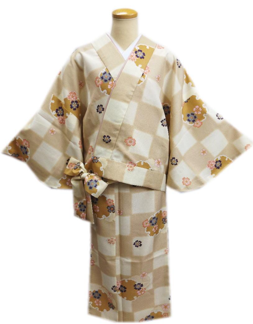 簡単女性用レディース洗える袷二部式着物薄茶きなり市松地雪輪桜M・L 普段着&ユニフォームに