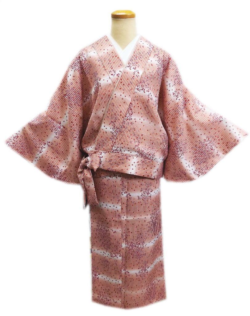 簡単女性用レディース洗える袷二部式着物コーラルピンク地ぼかしライン小花M・L 普段着&ユニフォームに