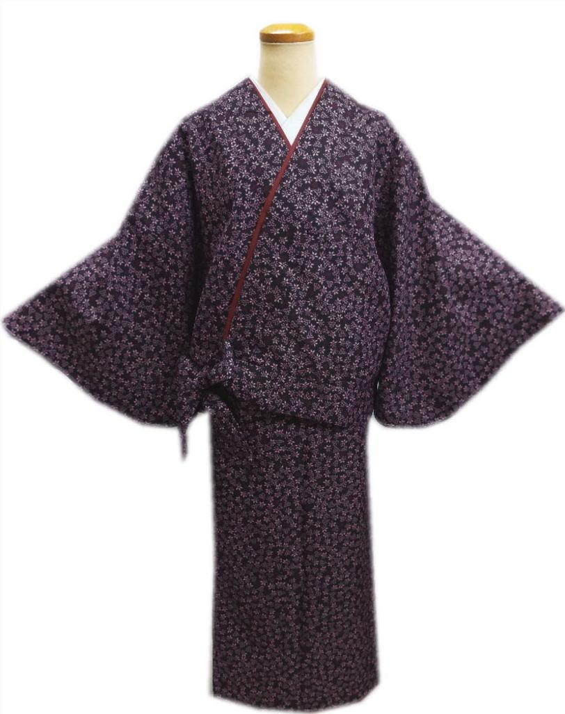 簡単女性用レディース洗える袷二部式着物濃紫色地南天M・L 普段着&ユニフォームに