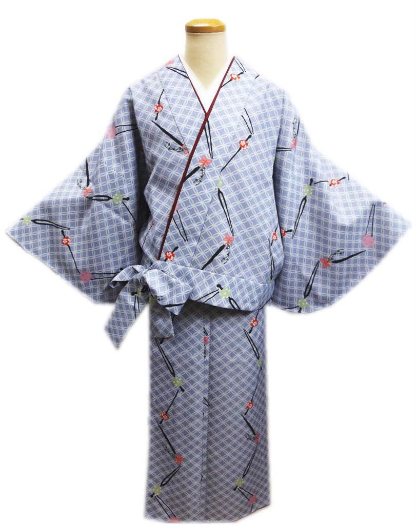 簡単女性用レディース洗える袷二部式着物薄ブルーグレー地珠かんざし七宝M・L 普段着&ユニフォームに