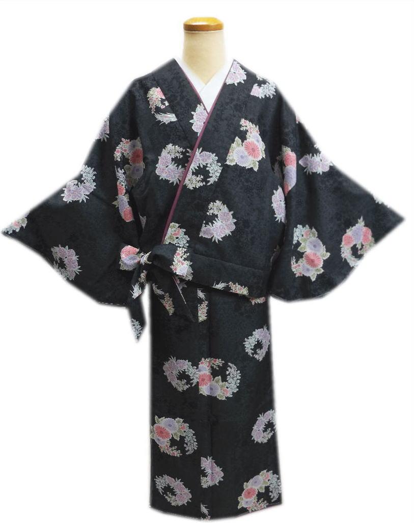 簡単女性用レディース洗える袷二部式着物墨黒色地古典花輪M・L 普段着&ユニフォームに