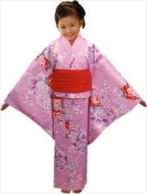 子供キッズ女の子用浴衣&ラメ兵児帯2点セットピンク地薔薇牡丹140サイズ