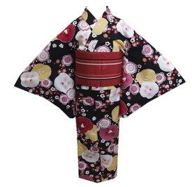 浴衣 キッズ ジュニア 女の子 柄結び帯 作り帯 2点セット 黒色地椿梅小梅 150cm 子供用