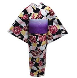 浴衣 キッズ ジュニア 女の子 ぼかし結び帯 作り帯 2点セット 黒白黄ピンク市松大輪菊小花 150cm 子供用