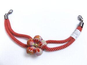 羽織紐 はおりひも 女性用 マグネット 正絹 日本製 和柄花朱色ひも 和装 着物 レディース