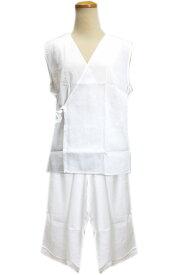 肌着 夏用 楊柳袖なし ステテコ 2点セット 白色 M L 日本製 浴衣 単衣 夏物 着物 下着 女性用 レディース