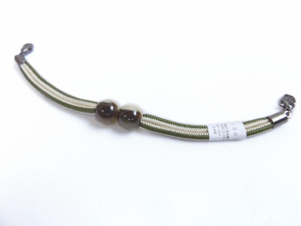 女性用レディースラクト玉正絹マグネット羽織紐はおりひも抹茶緑きなり 和装着物小物