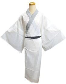 メンズ男物男性夏用(絽)洗える長襦袢(長地袢)白色地グレー衿M・L・LL 夏物和装着物浴衣下着