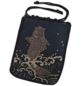 信玄袋 巾着 バッグ メンズ 男物 男性 浴衣 甚平 着物 日本製 濃紺色地鯉の滝登り 開運亭 女性用
