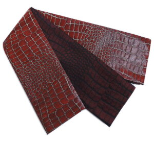 角帯 リバーシブル 小袋 メンズ 男性 日本製 ラメ糸濃赤色地クロコダイル柄 浴衣 着物 織地 粋 両面 男物