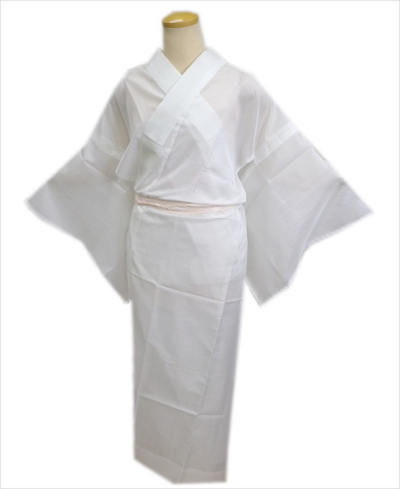 夏用(絽)のお仕立上がり洗える長襦袢(長地袢)白S・M・L・LL 単衣・夏物着物和装下着 女性用レディース