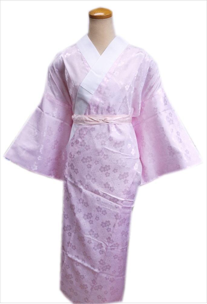 お仕立上がり洗える長襦袢(長地袢)薄ピンクS・M・L・LL 和装着物下着 女性用レディース