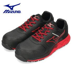 安全靴 ミズノ オールマイティ ALMIGHTY HW11L F1GA200092 作業靴 メンズ スニーカー ブラック/レッド MIZUNO 2000