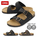 EDWIN エドウィン サンダル メンズ フットベッド ブラック ダークブラウン EW9121 2本ベルト シンプル 合皮 天然コル…