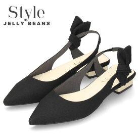 【37%OFF】 STYLE JELLY BEANS ジェリービーンズ サンダル レディース 1332 ブラック ポインテッドトゥ ローヒール バックストラップ 日本製 セール