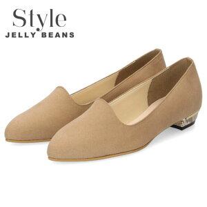 Style JELLY BEANS ジェリービーンズ パンプス レディース 靴 1140 ベージュ スエード ローヒール ポインテッドトゥ 日本製