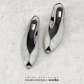【30%OFF】 RABOKIGOSHI works ラボキゴシワークス 12475 サンダル レディース ヒール パンプス ローヒール ストラップ メタリックシルバー 本革 日本製 セール