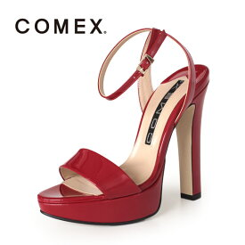 COMEX コメックス サンダル 靴 5586 (アカE) ネックベルト アンクルストラップ ハイヒール 赤 本革 エナメル