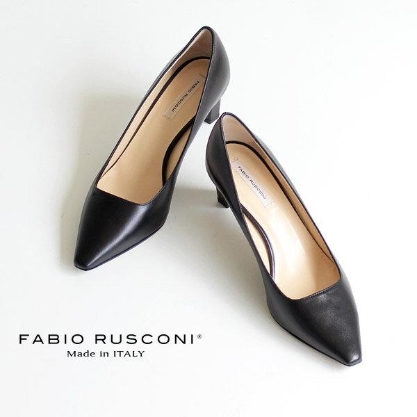 ファビオルスコーニ FABIO RUSCONI パンプス 靴 71151 ポインテッドトゥ プレーン パンプス ヒール スムース 黒 ブラック クロ