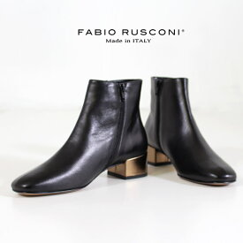 ファビオルスコーニ FABIO RUSCONI ショートブーツ 靴 83014 メタリック デザインヒール 本革 ローヒール 黒 ブラック セール