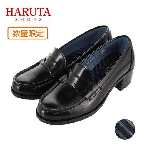 HARUTA ハルタ ローファー レディース ストライプ 46039 黒/T ブラック 通学 学生 靴 3E 22.5〜25.5cm