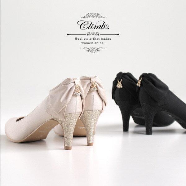 ea21255c774f8 Climb クライム 結婚式 パンプス 3400 バックリボン ヒール お呼ばれ 靴 レディース サテン フォーマル ベージュ 黒 ...