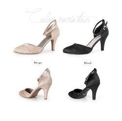 Climbクライム結婚式パンプス3415セパレートアンクルストラップヒールお呼ばれ靴レディースフォーマルサテンベージュ黒ブラック21.522.0〜25.0cm大きいサイズ小さいサイズ卒業式入学式七五三