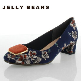 JELLY BEANS ジェリービーンズ 靴 112-09905 パンプス スクエアパーツ 花柄 マルチカラー レディース