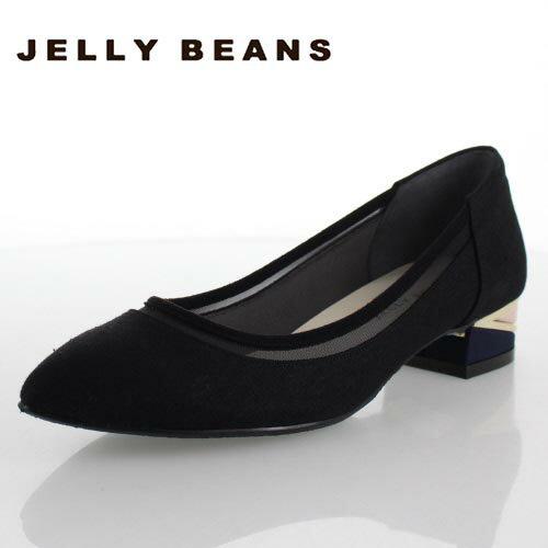 JELLY BEANS ジェリービーンズ 靴 5501 ポインテッドトゥ パンプス チュール ブロックヒール ローヒール 黒 ブラック レディース セール