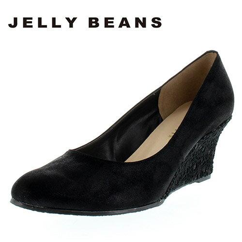 JELLY BEANS 【送料無料】 ジェリービーンズ 3830 01-黒 パンプス レディース ウエッジソール レース デザインヒール 二次会 女子会