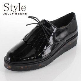 STYLE JELLY BEANS ジェリービーンズ 靴 908 シューズ 厚底 マニッシュシューズ レースアップ 2way キルト べっ甲 黒 ブラック レディース セール
