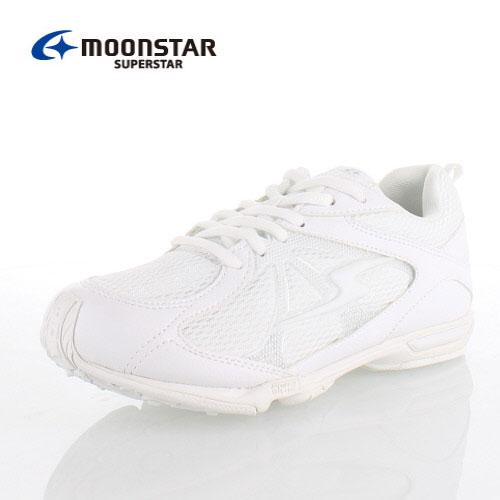 MoonStar ムーンスター スーパースター SS J757 ホワイト バネのチカラ。 キッズ ジュニア スニーカー オールホワイト 2E 紐タイプ