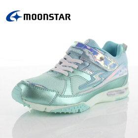 ムーンスタースーパースターバネのチカラ女の子MoonStarSS-J842MINTジュニアスニーカー2Eミントキラキラかわいい子供靴