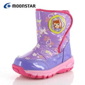 キッズ ブーツ 防水 MoonStar ムーンスター ディズニー プリンセス 子供靴 DN WC022ESP パープル PP-00022 スパイク ウインター