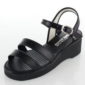 【11/11〜11/12限定 1111円クーポン配布中】 fashion sandal ファッションサンダル 靴 H9241 二本ラインタイプ ナースサンダル オフィスサンダル ブラック レディース