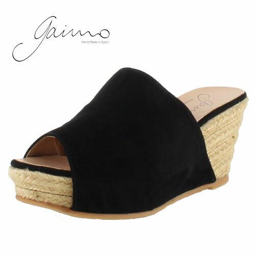 gaimo ガイモ ELOISA JUNGLE 61 エスパドリーユ サボサンダル サンダル ウェッジヒール 厚底 ジュート繊維 ブラック レディース