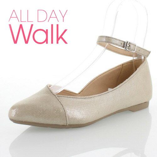 ALL DAY Walk オールデイウォーク 靴 ALD0590 パンプス ローヒール アキレス 歩きやすい ふんわり 脱げにくい 柔らかい 低反発 撥水 ポインテッドトゥ ストラップ シルバー レディース (旧 ベネトン ) セール