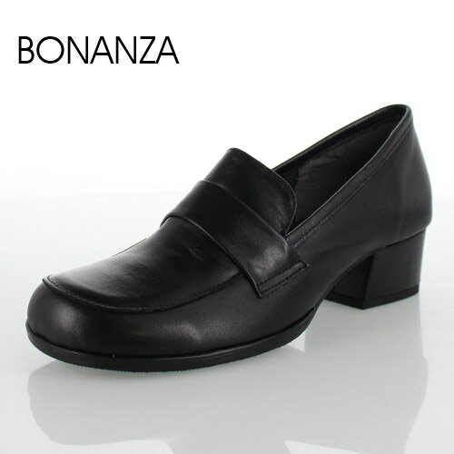 BONANZA ボナンザ 58-BL 靴 ベーシック ローファー パンプス 黒 日本製 フォーマル リクルート オフィス 冠婚葬祭 幅広 ゆったり3E ブラック