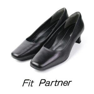 リクルートパンプス 本革 フォーマル パンプス 黒 ビジネス Fit Partner フィットパートナー 9001 送料無料 幅広 ワイズ 3E レディース 21.5cm