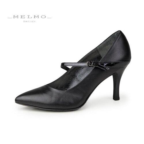 MELMO 靴 メルモ パンプス 7425 ななめ ストラップ ポインテッドトゥ ヒール 2E 抗菌 防臭 黒 ブラック
