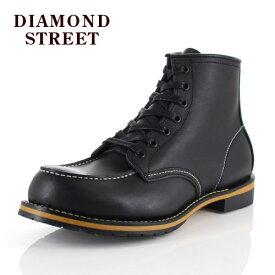 メンズ ブーツ ダイヤモンドストリート DIAMOND STREET DS-519 BLK モカシン ワークブーツ 靴 オイルレザー ブラック