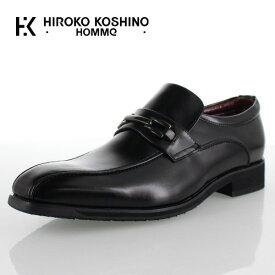 【12月5日限定 1000円クーポン配布中】 ヒロココシノ オム HIROKO KOSHINO HOMME HK4557 ブラック メンズ 靴 ビジネスシューズ スリッポン ビット ローファー 防水 3E