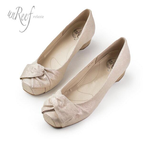 unReef 靴 アンリーフ 3414 オブリークトゥ スクエアトゥ ラメ パンプス 太ヒール ローヒール ピンクゴールド セール