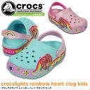 クロックス クロックスライツ レインボー ハート クロッグ キッズ crocs crocslights rainbow heart clog kids 2026...