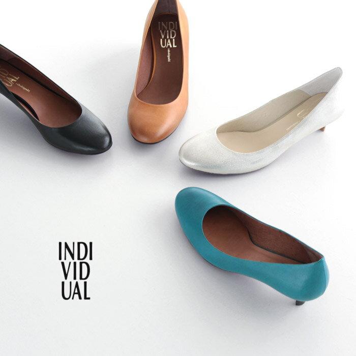 INDIVIDUAL インディヴィジュアル ラボキゴシ 靴 6310 本革 パンプス ローヒール レッドソール レディース ラウンドトゥ セール