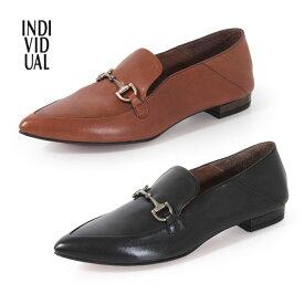 INDIVIDUAL インディヴィジュアル ラボキゴシ 靴 6359 ビットローファー レディース 本革 ポインテッドトゥ ローヒール レッドソール セール